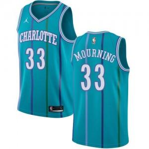 Maillot Alonzo Mourning Charlotte Hornets No.33 Vert d'Eau Hardwood Classics Homme Jordan Brand