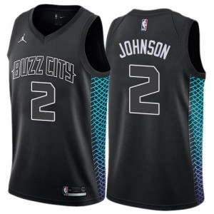 Jordan Brand Maillot De Larry Johnson Hornets No.2 Homme City Edition Noir