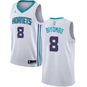Maillot Bismack Biyombo Charlotte Hornets Blanc No.8 Jordan Brand Enfant Association Edition