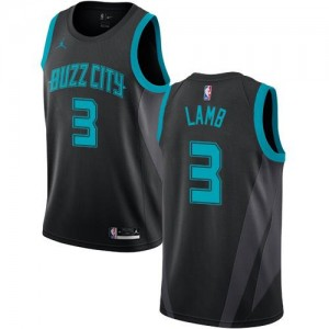 Jordan Brand NBA Maillots Jeremy Lamb Charlotte Hornets Homme Noir No.3 2018/19 City Edition