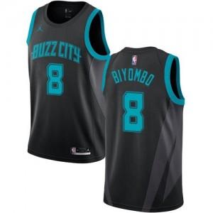 Jordan Brand NBA Maillots De Basket Bismack Biyombo Charlotte Hornets No.8 Noir Enfant 2018/19 City Edition