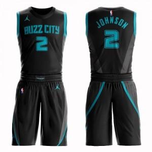 Jordan Brand Maillots Johnson Charlotte Hornets Suit City Edition Enfant #2 Noir