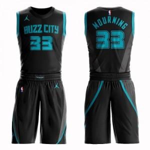 Jordan Brand NBA Maillots Basket Alonzo Mourning Charlotte Hornets No.33 Suit City Edition Enfant Noir