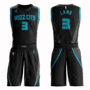 Maillots Basket Jeremy Lamb Hornets Enfant #3 Suit City Edition Noir Jordan Brand