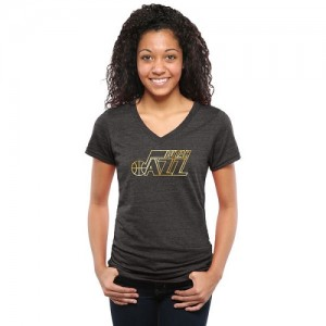 NBA Tee-Shirt De Basket Utah Jazz Gold Collection V-Neck Tri-Blend Noir Femme