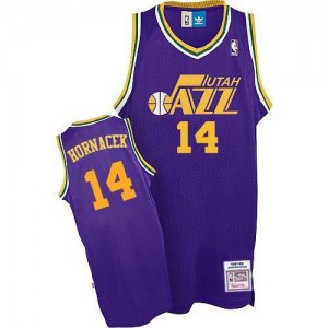 Adidas NBA Maillots Basket Jeff Hornacek Jazz Violet Throwback #14 Homme