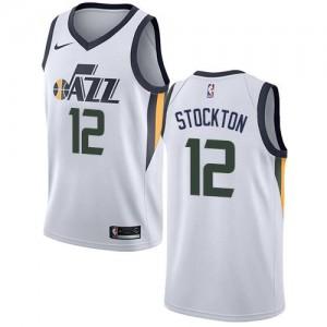 Nike NBA Maillots Stockton Utah Jazz No.12 Blanc Association Edition Enfant