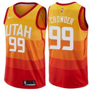 Nike NBA Maillots Crowder Utah Jazz City Edition Enfant No.99 Orange