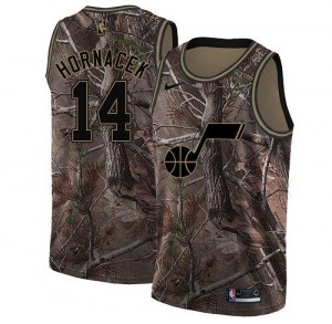 Nike NBA Maillots Basket Hornacek Utah Jazz No.14 Camouflage Enfant Realtree Collection