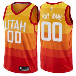 Nike NBA Personnalise Maillot Basket Utah Jazz Orange Enfant City Edition