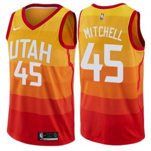 Maillots Basket Mitchell Jazz Orange No.45 Nike Enfant City Edition