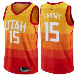 Nike NBA Maillots De Favors Utah Jazz Enfant Orange #15 City Edition