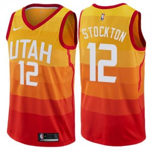 Nike Maillots De Stockton Jazz #12 Enfant City Edition Orange
