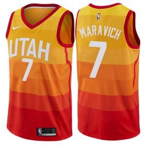 Nike Maillot Basket Pete Maravich Utah Jazz Orange No.7 City Edition Enfant