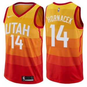 Maillot De Basket Hornacek Jazz Orange Nike Enfant No.14 City Edition