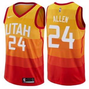 Nike Maillot Basket Allen Utah Jazz No.24 Enfant Orange City Edition