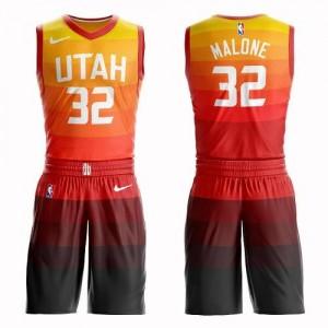 Nike Maillot Karl Malone Utah Jazz Orange Suit City Edition No.32 Enfant