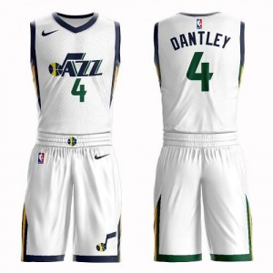 Nike Maillots Basket Dantley Utah Jazz No.4 Blanc Suit Association Edition Homme