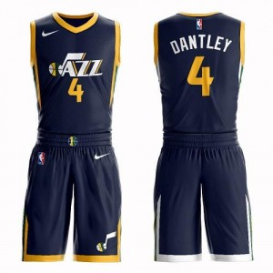 Nike Maillots Adrian Dantley Utah Jazz No.4 bleu marine Homme Suit Icon Edition