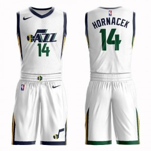 Nike NBA Maillots Jeff Hornacek Utah Jazz Suit Association Edition Homme #14 Blanc