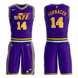 Nike NBA Maillot Basket Hornacek Utah Jazz No.14 Violet Homme Suit