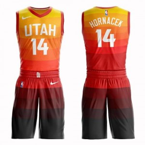Nike Maillots Basket Hornacek Utah Jazz Enfant Suit City Edition No.14 Orange