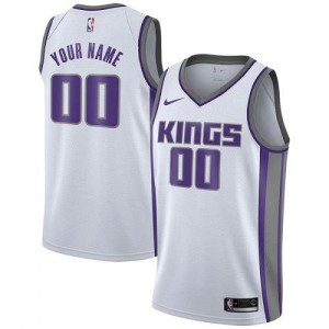 Nike NBA Personnalise Maillot Basket Kings Blanc Association Edition Homme