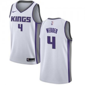Nike NBA Maillots De Basket Chris Webber Kings Blanc Association Edition No.4 Enfant