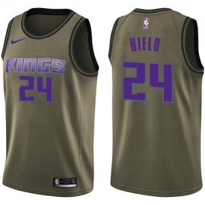 Nike NBA Maillots De Buddy Hield Kings Homme vert #24 Salute to Service