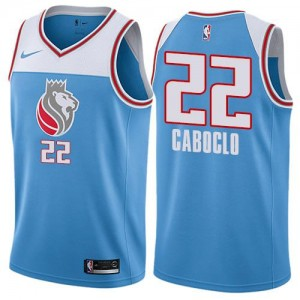 Nike Maillots De Basket Bruno Caboclo Kings #22 City Edition Bleu Homme