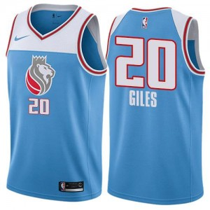 Nike NBA Maillot Giles Sacramento Kings Homme No.20 Bleu City Edition
