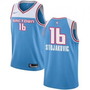 Maillots Basket Peja Stojakovic Sacramento Kings Nike Bleu Enfant No.16 2018/19 City Edition