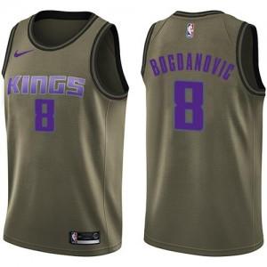 Nike NBA Maillots Basket Bogdan Bogdanovic Kings vert No.8 Homme Salute to Service