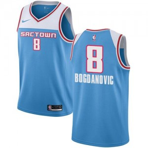 Nike Maillots Basket Bogdan Bogdanovic Kings Bleu No.8 Enfant 2018/19 City Edition