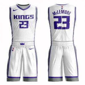 Nike NBA Maillots Basket McLemore Kings Suit Association Edition Enfant Blanc No.23