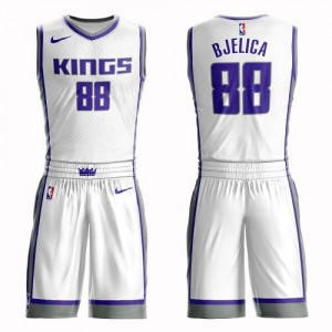 Maillot Nemanja Bjelica Sacramento Kings Enfant #88 Blanc Suit Association Edition Nike