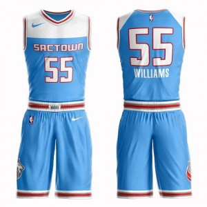 Nike Maillot Basket Williams Sacramento Kings Suit City Edition Bleu Enfant No.55