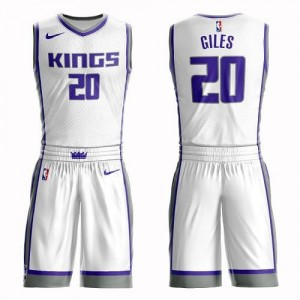 Nike NBA Maillots Basket Harry Giles Sacramento Kings Blanc Enfant No.20 Suit Association Edition