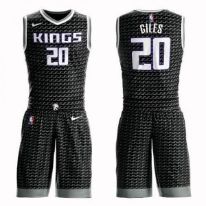 Nike Maillots Giles Sacramento Kings No.20 Enfant Suit Statement Edition Noir