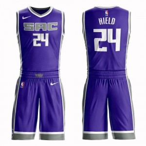 Nike NBA Maillots Basket Hield Sacramento Kings Violet No.24 Homme Suit Icon Edition