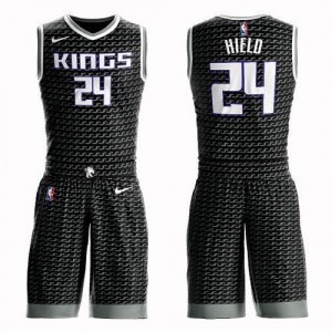 Nike Maillot Buddy Hield Kings #24 Homme Suit Statement Edition Noir
