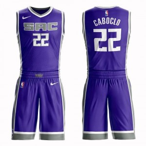 Nike NBA Maillot De Basket Bruno Caboclo Sacramento Kings Enfant Violet No.22 Suit Icon Edition