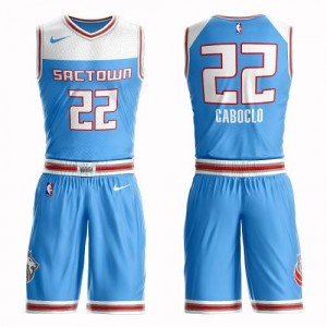Nike Maillots De Bruno Caboclo Sacramento Kings Bleu Suit City Edition Enfant #22