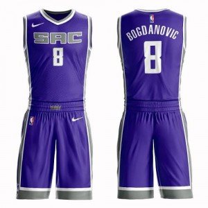 Nike NBA Maillot De Bogdanovic Sacramento Kings No.8 Suit Icon Edition Homme Violet