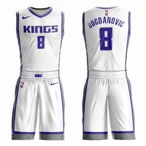 Nike NBA Maillots De Bogdan Bogdanovic Kings Enfant #8 Blanc Suit Association Edition