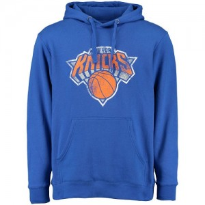 NBA Sweat à capuche New York Knicks Homme Bleu Distressed
