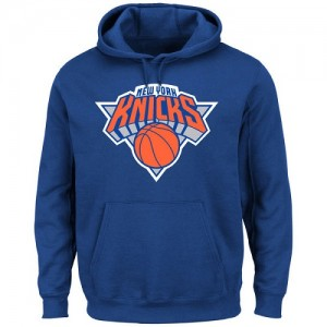 Hoodie De New York Knicks Homme Majestic Current Logo Tech Patch Pullover Bleu
