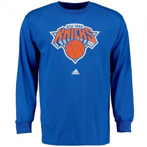Adidas T-Shirt De Basket Knicks Royal Blue Prime Logo Long Sleeve Homme