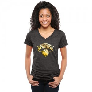 T-Shirt De Knicks Femme Gold Collection V-Neck Tri-Blend Noir