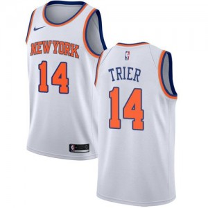 Nike Maillots Basket Allonzo Trier New York Knicks Enfant Association Edition No.14 Blanc